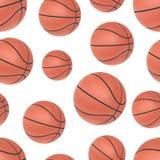 Nahtloses Muster des realistischen Basketballs Stockbilder