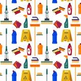 Nahtloses Muster des Reinigungsservices Bringen Sie Werkzeuge, flache Illustration, Hausrathintergrund, Reiniger, Mopp, Schwamm,  Lizenzfreies Stockbild