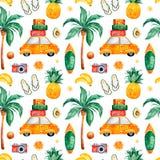 Nahtloses Muster des Reiseaquarells mit Palme, gelbes Auto, Koffer, Ananas stock abbildung