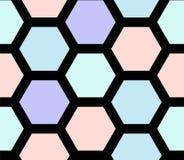 Nahtloses Muster des Retro- geometrischen Hexagons stock abbildung