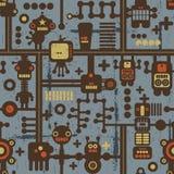 Nahtloses Muster des Roboters und der Monster auf Blau. Stockbilder
