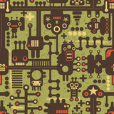 Nahtloses Muster des Roboters und der Monster auf Grün. Stockfotos