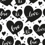 Nahtloses Muster des romantischen Konzeptes mit Rede Lizenzfreie Stockbilder