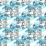 Nahtloses Muster des romantischen Zitats Liebestext für Valentinstag Gruß-Karten-Design Aquarellhintergrund an Lizenzfreies Stockfoto