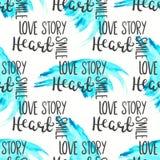 Nahtloses Muster des romantischen Zitats Liebestextdruck für Valentinstag Handbeschriftungs-Typografiedesign Lizenzfreie Stockfotos