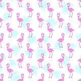 Nahtloses Muster des rosa Flamingos Lizenzfreie Stockfotos