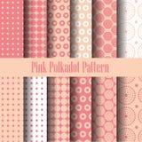 Nahtloses Muster des rosa und weißen Tupfens Stockbilder
