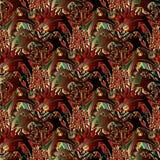 Nahtloses Muster des roten abstrakten mit Blumenvektors Buntes Barock 3d Stockfotografie