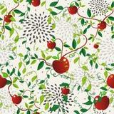 Nahtloses Muster des roten Apfellebensmittels Stockbilder