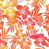 Nahtloses Muster des roten Aquarellvektor-Hibiscus Lizenzfreie Stockfotografie