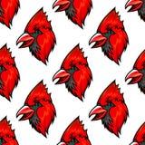 Nahtloses Muster des roten hauptsächlichen Vogels Lizenzfreie Stockfotos