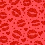 Nahtloses Muster des roten Lippenstiftkusses Stockbilder