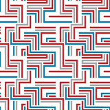 Nahtloses Muster des roten und blauen Labyrinths Stockfotografie