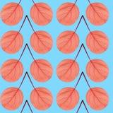 Nahtloses Muster des Rotes verlässt auf einem blauen Hintergrund Lizenzfreie Stockfotografie