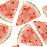 Nahtloses Muster des süßen saftigen Wassermelonenaquarells Lizenzfreies Stockbild