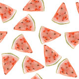 Nahtloses Muster des süßen saftigen Wassermelonenaquarells Stockbilder