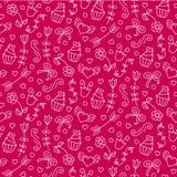 Nahtloses Muster des süßen Vektors mit Herzen, kleine Kuchen, Blumen, beugt Netter endloser Hintergrund Stockfoto