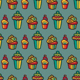 Nahtloses Muster des süßen Vektors mit kleinen Kuchen Netter endloser Hintergrund in den leichten Farben Kuchen, Eiscreme lokalis Stockbild