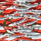 Nahtloses Muster des Sardellenpaprika-Matches lizenzfreie abbildung