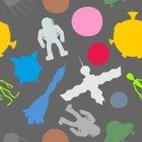 Nahtloses Muster des Schattenbildraum-Symbols: Astronaut und UFO, Roc Stockbilder