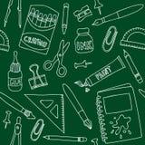 Nahtloses Muster des Schulbedarfs Stockfoto