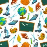 Nahtloses Muster des Schulvektors von Studienversorgungen Lizenzfreie Stockfotografie