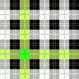 Nahtloses Muster des schwarzen, gelben, grünen und weißen Gewebebeschaffenheitskontrollschottenstoffs Auch im corel abgehobenen B stock abbildung