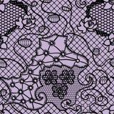 Nahtloses Muster des schwarzen Spitzevektorgewebes Stockfotografie