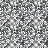 Nahtloses Muster des schwarzen Spitzevektorgewebes Stockfotos