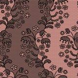 Nahtloses Muster des schwarzen Spitzevektorgewebes Stockbild