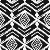 Nahtloses Muster des schwarzen Stammes- Navajovektors mit Gekritzelelementen Aztekischer abstrakter geometrischer Kunstdruck ethn Stockbild