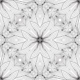 Nahtloses Muster des Schwarzweiss-Blumenvektors vektor abbildung