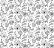 Nahtloses Muster des Schwarzweiss-Blumenvektors mit Blume, Blatt, Niederlassung Natürlicher endloser Hintergrund Lizenzfreie Stockbilder