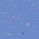 Nahtloses Muster des Schwimmenmeerblicks Lizenzfreies Stockfoto