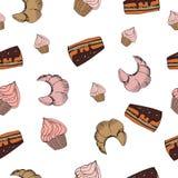 Nahtloses Muster des Skizzenbonbon-Nachtischs mit Lizenzfreie Stockbilder