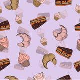 Nahtloses Muster des Skizzenbonbon-Nachtischs mit Lizenzfreies Stockbild