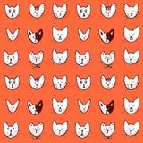 Nahtloses Muster des Skizzenkatzen-Gesichtes Lizenzfreie Stockfotos