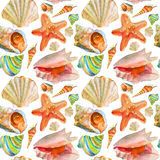 Nahtloses Muster des Sommeraquarells Stockbilder