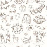 Nahtloses Muster des Sommerferien-Feiertagsgekritzels Stockfotografie
