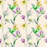 Nahtloses Muster des Sommers mit Blumen Stockfoto