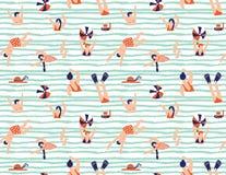Nahtloses Muster des Sommervektors Leute, die im Meer schwimmen vektor abbildung