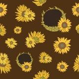 Nahtloses Muster des Sonnenblumenvektors auf der Dunkelheit Lizenzfreies Stockfoto