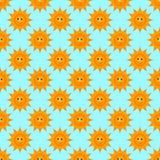 Nahtloses Muster des sonnigen Lächelnkarikatur-Vektors Stockfotos