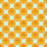 Nahtloses Muster des sonnigen Lächelnkarikatur-Vektors Lizenzfreies Stockbild