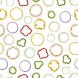 Nahtloses Muster des sortierten Ring geformten Obst- und Gemüse Pipis Stockbild