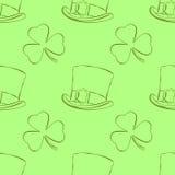 Nahtloses Muster des St- Patrick` s Tagesentwurfs mit Koboldhut und -shamrock in der Karikaturart Auch im corel abgehobenen Betra Lizenzfreie Stockfotografie