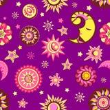 Nahtloses Muster des Sternes und des Mondes Lizenzfreie Stockfotografie
