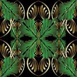 Nahtloses Muster des Stickereigold-Blumen-Vektors 3d Luxusverzierung der dekorativen Tapisserie Gestickte goldene Blumen, grüne B stock abbildung