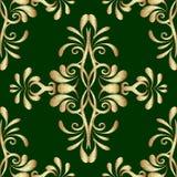 Nahtloses Muster des Stickereigoldgrün Damast-Vektors Tapisserie O vektor abbildung