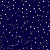 Nahtloses Muster des stilisierten nächtlichen Himmels Stockfoto